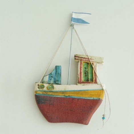 Ceramic fishing boat, wall...