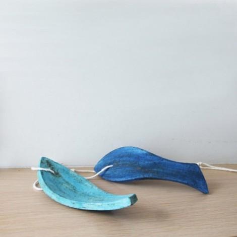 Turquoise ceramic fish,...