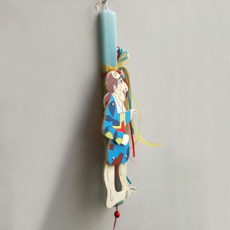 Wooden table lamp, girl with umbrella lamp