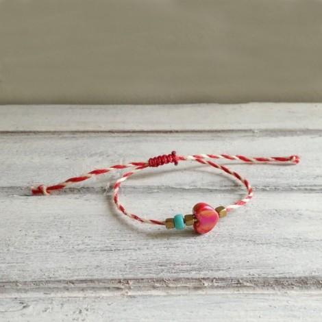Heart March bracelet, jute...