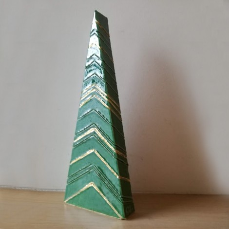 Mini Christmas tree, miniature brass tree on a marble base, golden Xmas tree sculpture with colourful baubles