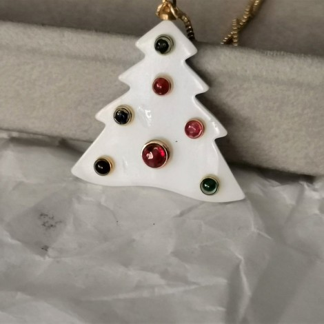 Sailboat ornament, porcelain, Xmas tree ornament with red dots, white boat on red string with tag, modern xmas decor