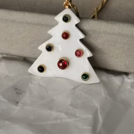 Christmas tree star ornament with 2018 charm, black star with white dots and white, porcelain beads