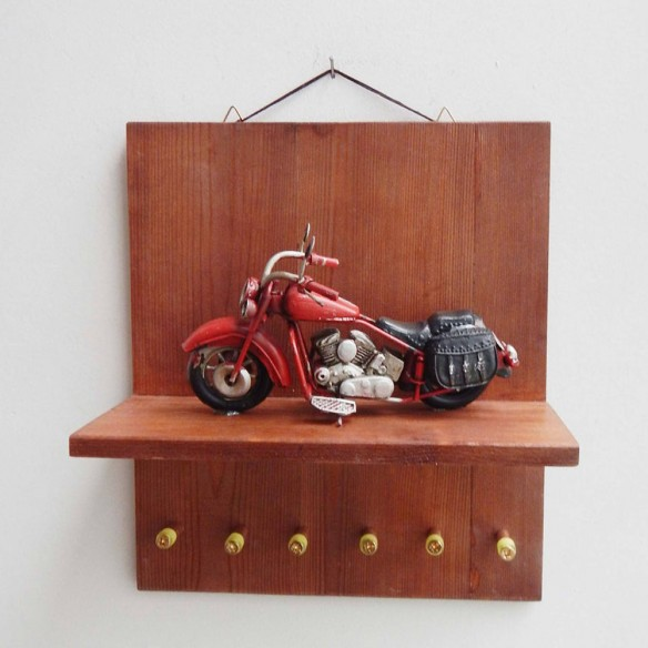 Bug car key organiser, wooden shelf with bug car miniature diorama and key hangers, collectible bug miniature with key organiser