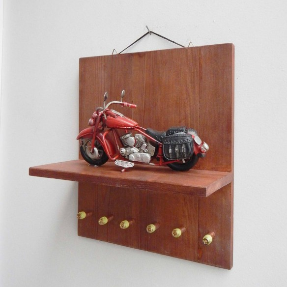 Blue buggy key organiser, wooden shelf with bug car miniature diorama, collectible bug miniature with key organiser