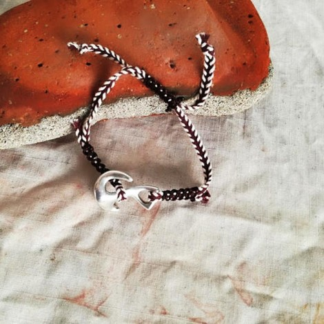 Silver anchor bracelet,...