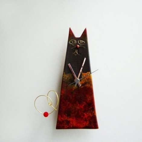 Black cat clock, ceramic...
