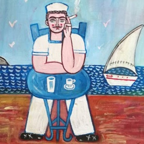 Folk painting of sailor...